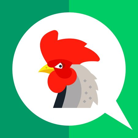 Multicolored vector icon of rooster head with big red crest