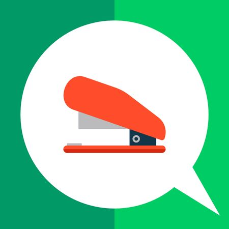 Multicolored vector icon of red stapler, side view