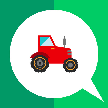 movers: Multicolored vector icon of red industrial tractor