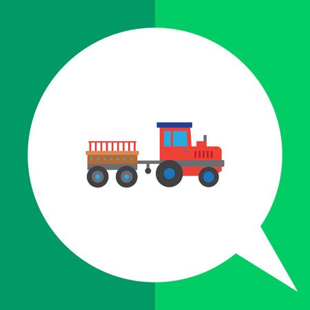 movers: Multicolored vector icon of red tractor with trailer