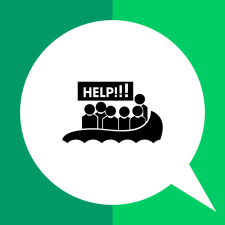 asking: Refugees flat icon. Vector illustration of boat with refugees asking for help