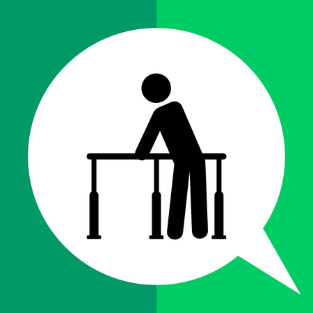 recuperation: Rehabilitation simple icon. Black vector illustration of male character taking physical therapy