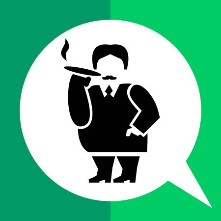 Rich person vector icon. Black and white illustration of fat male character smoking cigar