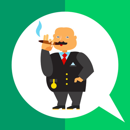 gold watch: Rich person icon. Multicolored vector illustration of fat male character with gold chain watch smoking cigar Illustration