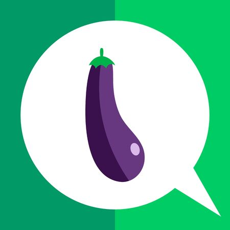 eggplant: Vector icon of eggplant with green stem