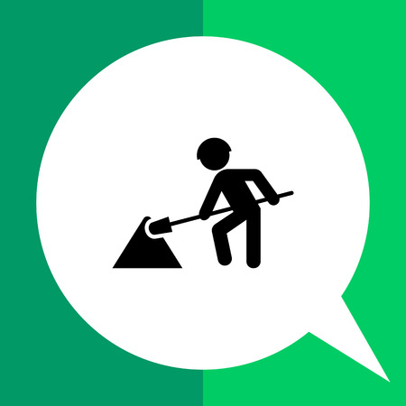 Icon of digging man silhouette with spade Illustration