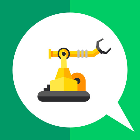 Multicolored vector icon of industrial robot with arm manipulator