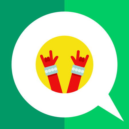 Multicolored vector icon of two red hand with bracelets showing rock sign gesture in yellow circle Illustration