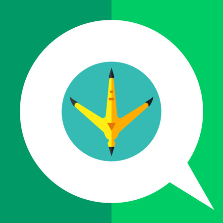 pounce: Multicolored vector icon of rooster footprint in green circle