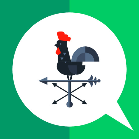 wind vane: Multicolored vector icon of black rooster used as wind vane