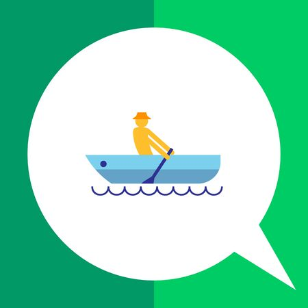man's: Icon of mans silhouette rowing in boat