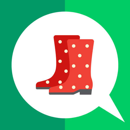 Vector icon of red dotted rubber boots