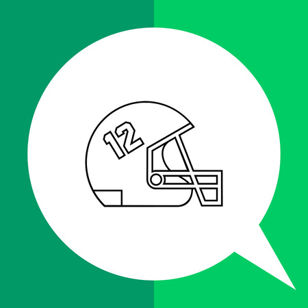 number twelve: Rugby helmet flat icon. Line illustration of rugby football helmet with twelve number
