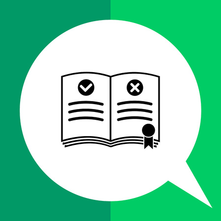 guideline: Rulebook with bookmark. Rules, regulation, guideline, instructions. Rules concept. Can be used for topics like gamification, management, administration, business Illustration