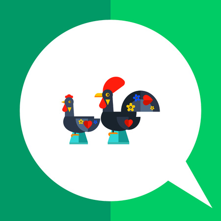 Multicolored vector icon of Russian traditional rooster and chicken decorated heart sign and flowers Illustration