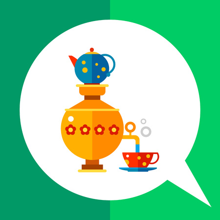 Multicolored vector icon of Russian samovar pouring water in cup with teapot on top