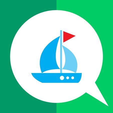 triangle flag: Icon of sailing ship with triangle flag