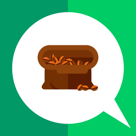 Icon of open brown tissue sack full of coffee beans Illustration