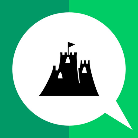 Sand castle flat icon. Vector illustration of two-towered castle Illustration