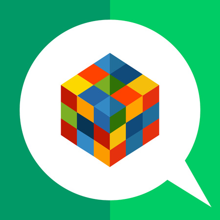 Multicolored vector icon of square rubik cube Illustration