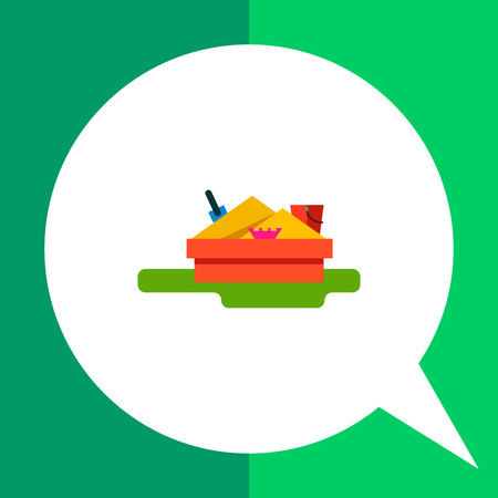 sandbox: Multicolored vector icon of sandbox with scoop, bucket and mold