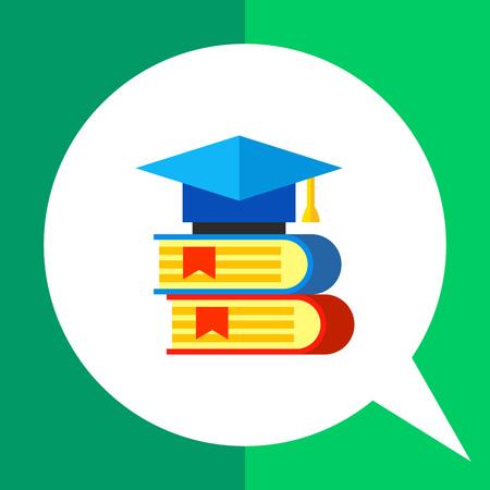 scientific literature: Multicolored vector icon of two books with graduate cap lying on them representing science books concept