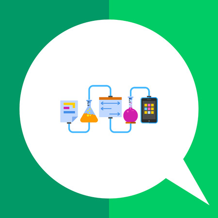 Multicolored vector icon of laboratory experiment with chemical reaction and science data in paper sheet and mobile phone screen