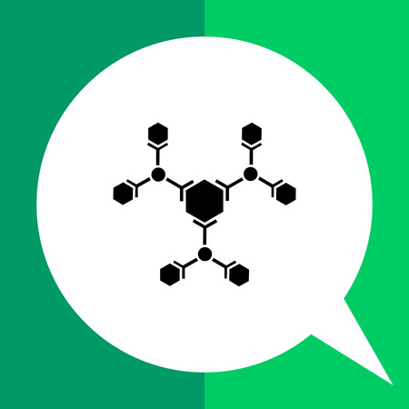 Monochrome vector icon of molecular structure representing science concept