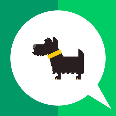 Multicolored vector icon of black Scottish terrier dog with yellow dog collar Illustration