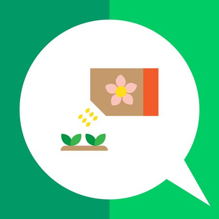 falling out: Icon of flower seed packet with few seeds falling out and growing sprouts Illustration