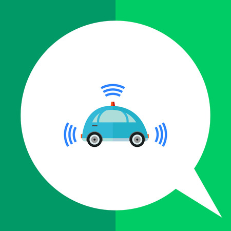 newness: Multicolored flat icon of blue self-driving car with signal signs