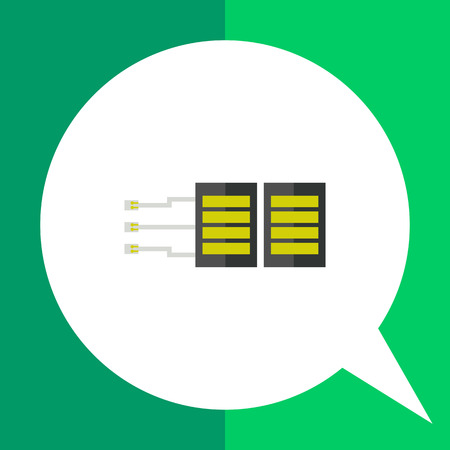 remote server: Stylized server with cables and plugs. Datacenter, storage, Internet. Server concept. Can be used for topics like electronics, marketing, technology. Illustration