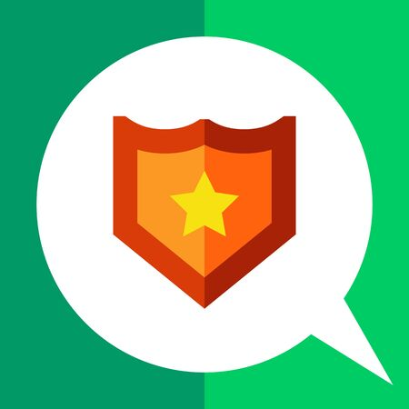 Multicolored vector icon of shield with yellow star Illustration