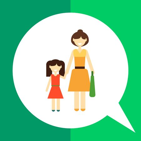 Icon of single-parent family consisting of one woman and one child