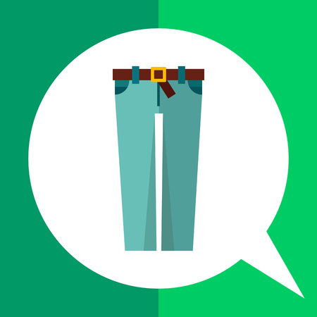 Multicolored vector icon of skinny jeans with brown belt and buckle