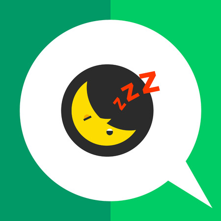Multicolored vector icon of  sleeping moon at night in circle with Z letters Illustration