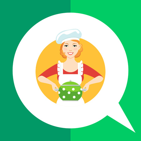 hairdo: Female character, portrait of young woman in apron and chefs hat, holding saucepan