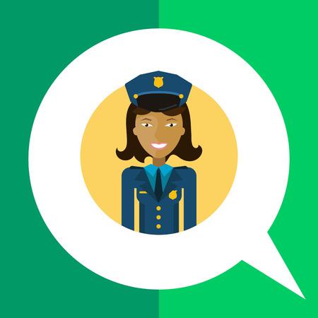 femme policier: Personnage f�minin, portrait de jeune polici�re souriante asiatique