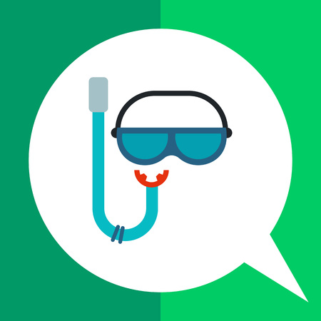 snorkel: Snorkel flat icon. Multicolored vector illustration of snorkel and mask for scuba diving