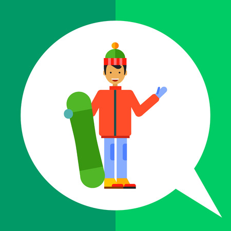 Multicolored vector icon of male character holding snowboard
