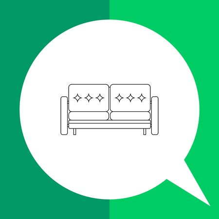piece of furniture: Sofa vector icon. Line illustration of comfortable double sofa