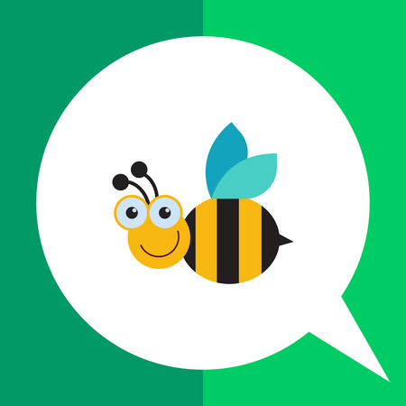 Vector icon of cute smiling cartoon bee Illustration