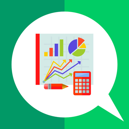 representing: Multicolored vector icon of graph, diagram and pie chart on board, calculator and pencil representing statistics concept