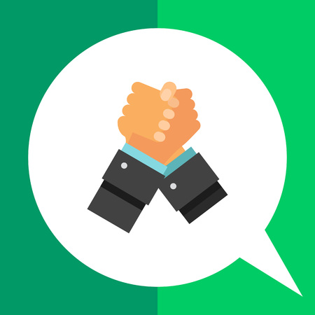Two arm-wrestling hands. Handshake, competition, confrontation. Struggle concept. Can be used for topics like business, management, finance, consulting, banking. Illustration