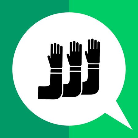 aspiration: Monochrome vector icon of raised human hands representing student aspiration Illustration