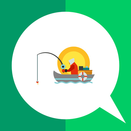 motorboat: Summer fishing icon. Multicolored vector illustration of fisherman with fishing rod in boat