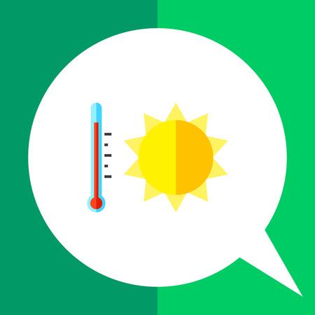 summer heat: Summer heat icon. Multicolored vector illustration of sun and thermometer symbolizing heat Illustration