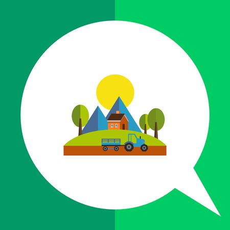 Summer time flat icon. Multicolored vector illustration of countryside landscape