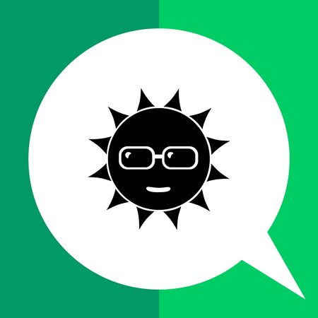to spend the summer: Monochrome vector simple icon of smiling sun in sunglasses