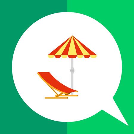 sun umbrella: Sun umbrella vector icon. Multicolored illustration of sun umbrella and deck chair